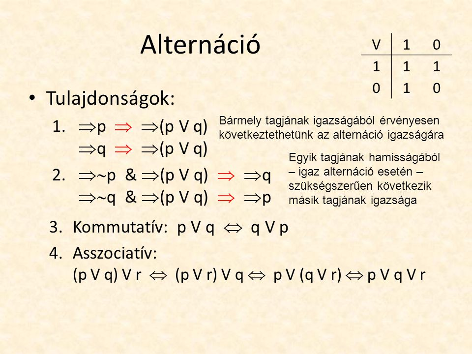 Alternáció Tulajdonságok: 1.  p   (p V q)  q   (p V q) 2.