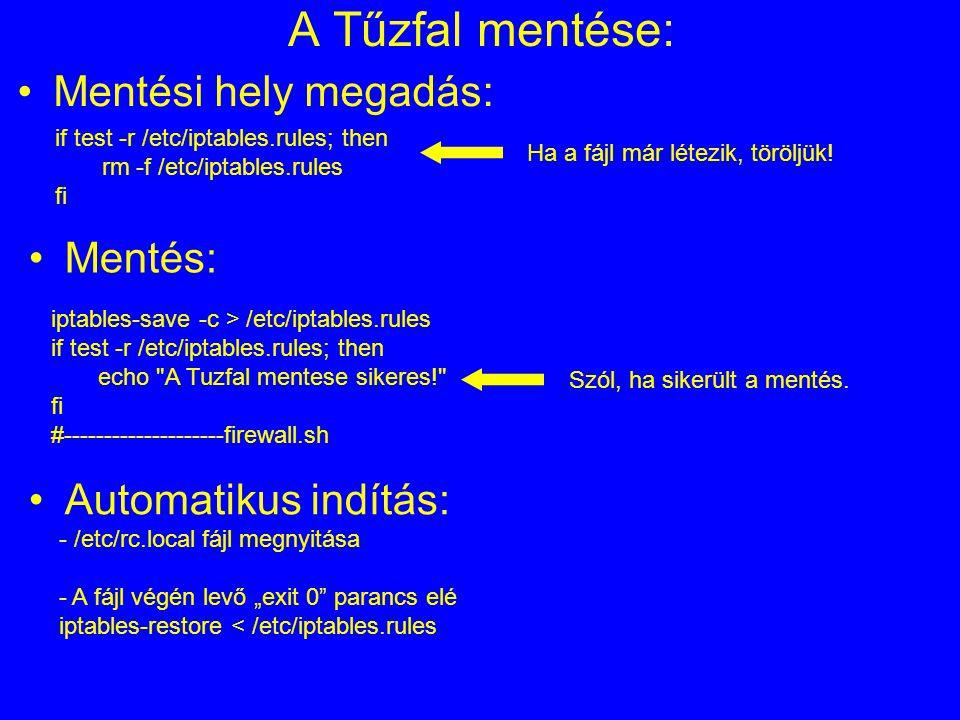A Tűzfal mentése: if test -r /etc/iptables.rules; then rm -f /etc/iptables.rules fi Mentési hely megadás: iptables-save -c > /etc/iptables.rules if te