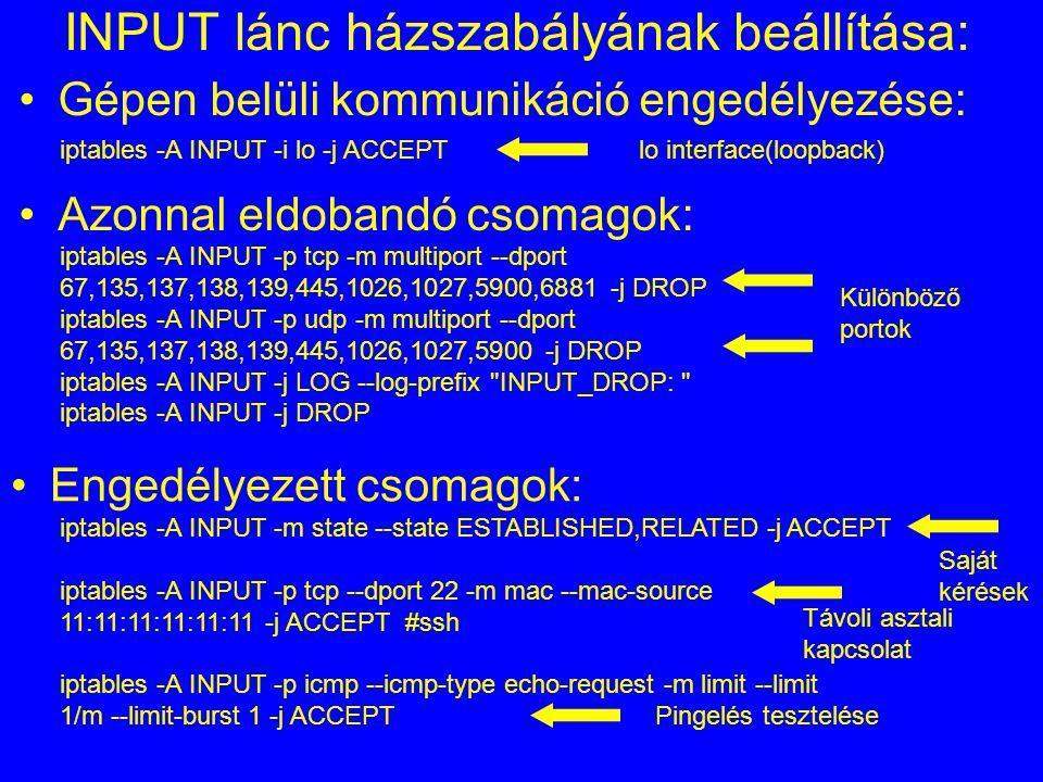 INPUT lánc házszabályának beállítása: iptables -A INPUT -i lo -j ACCEPT Azonnal eldobandó csomagok: iptables -A INPUT -p tcp -m multiport --dport 67,1