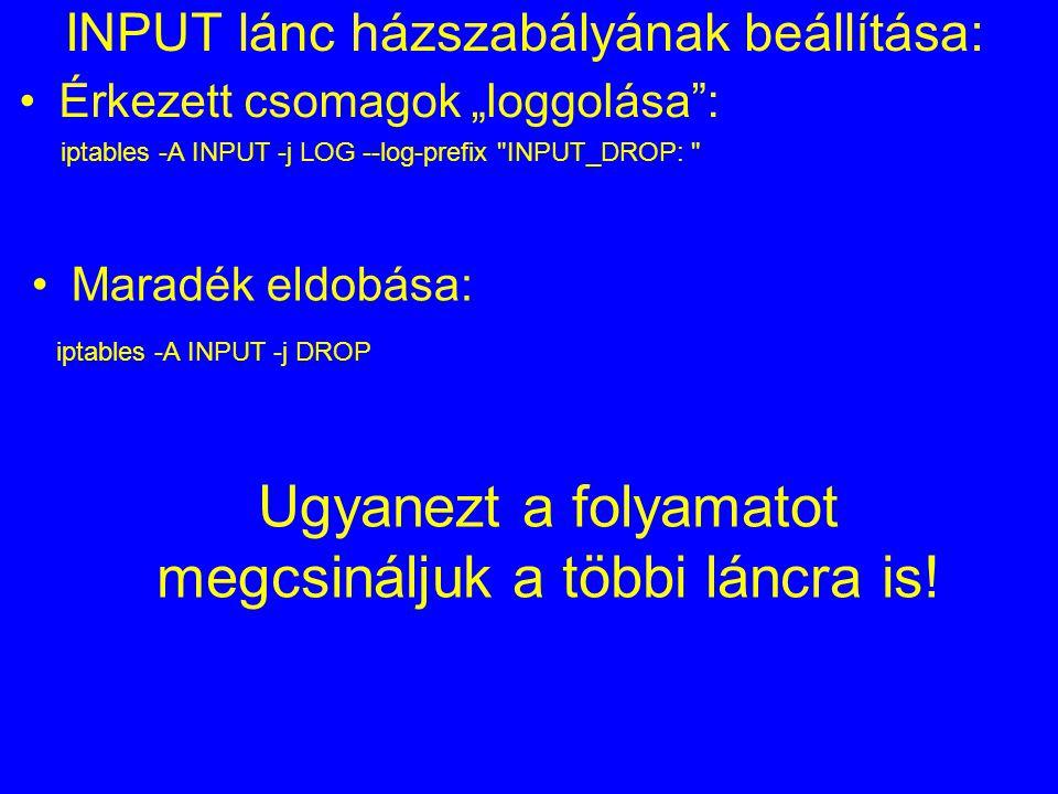 INPUT lánc házszabályának beállítása: iptables -A INPUT -j LOG --log-prefix