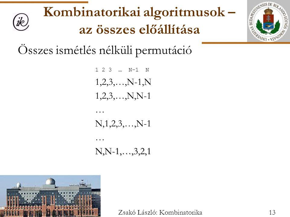 Összes ismétlés nélküli permutáció 1 2 3 … N-1 N 1,2,3,…,N-1,N 1,2,3,…,N,N-1 … N,1,2,3,…,N-1 …N,N-1,…,3,2,1 Kombinatorikai algoritmusok – az összes előállítása 13Zsakó László: Kombinatorika