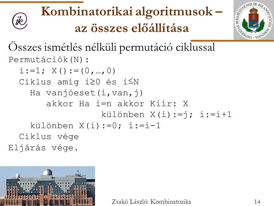 Összes ismétlés nélküli permutáció ciklussal Permutációk(N): i:=1; X():=(0,…,0) Ciklus amíg i  0 és i≤N Ha vanjóeset(i,van,j) akkor Ha i=n akkor Kiír: X különben X(i):=j; i:=i+1 különben X(i):=0; i:=i-1 Ciklus vége Eljárás vége.