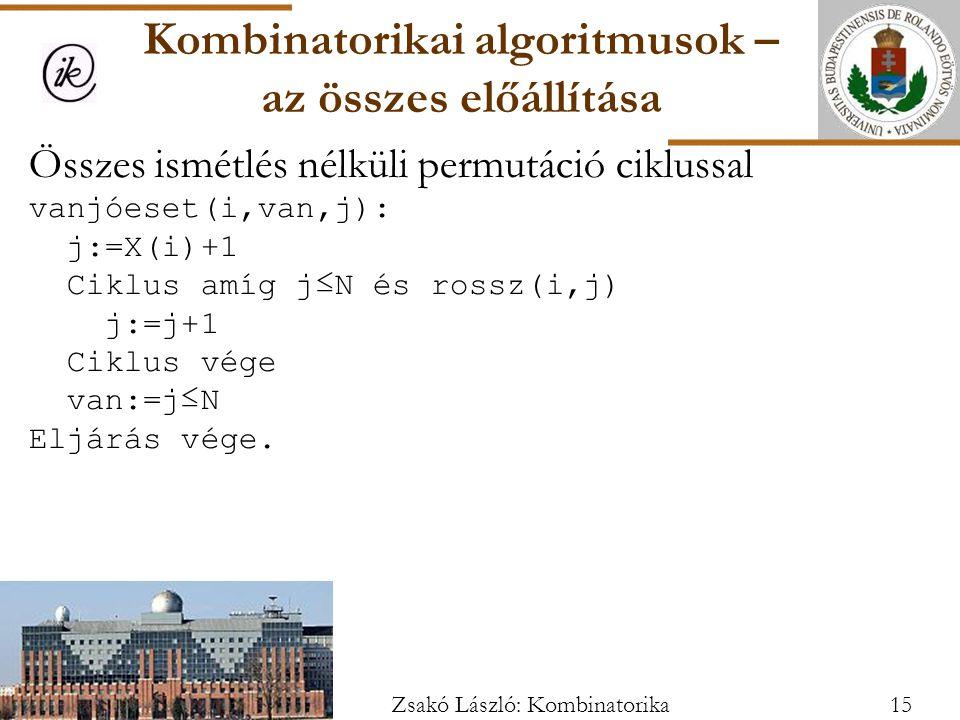 Összes ismétlés nélküli permutáció ciklussal vanjóeset(i,van,j): j:=X(i)+1 Ciklus amíg j≤N és rossz(i,j) j:=j+1 Ciklus vége van:=j≤N Eljárás vége.