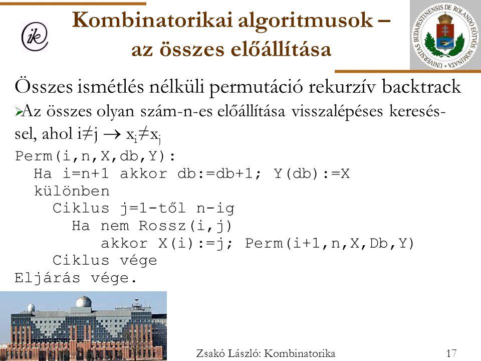 Összes ismétlés nélküli permutáció rekurzív backtrack  Az összes olyan szám-n-es előállítása visszalépéses keresés- sel, ahol i≠j  x i ≠x j Perm(i,n,X,db,Y): Ha i=n+1 akkor db:=db+1; Y(db):=X különben Ciklus j=1-től n-ig Ha nem Rossz(i,j) akkor X(i):=j; Perm(i+1,n,X,Db,Y) Ciklus vége Eljárás vége.