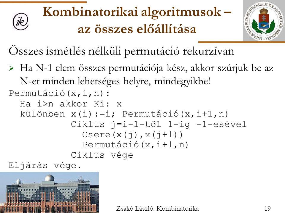 Összes ismétlés nélküli permutáció rekurzívan  Ha N-1 elem összes permutációja kész, akkor szúrjuk be az N-et minden lehetséges helyre, mindegyikbe.