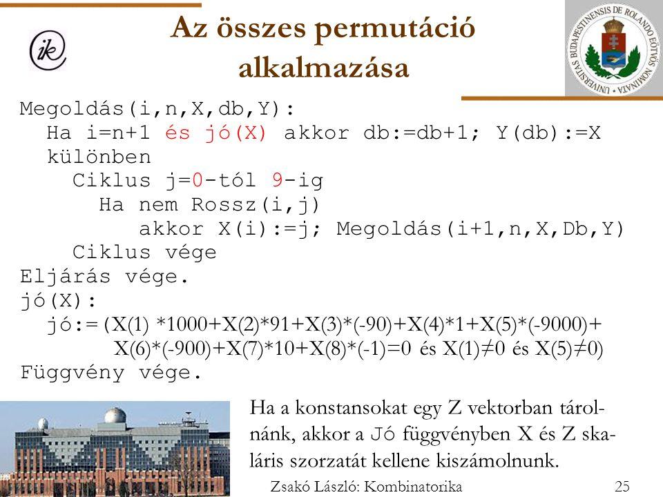 Megoldás(i,n,X,db,Y): Ha i=n+1 és jó(X) akkor db:=db+1; Y(db):=X különben Ciklus j=0-tól 9-ig Ha nem Rossz(i,j) akkor X(i):=j; Megoldás(i+1,n,X,Db,Y) Ciklus vége Eljárás vége.