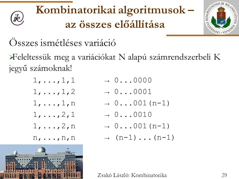 Összes ismétléses variáció  Feleltessük meg a variációkat N alapú számrendszerbeli K jegyű számoknak.