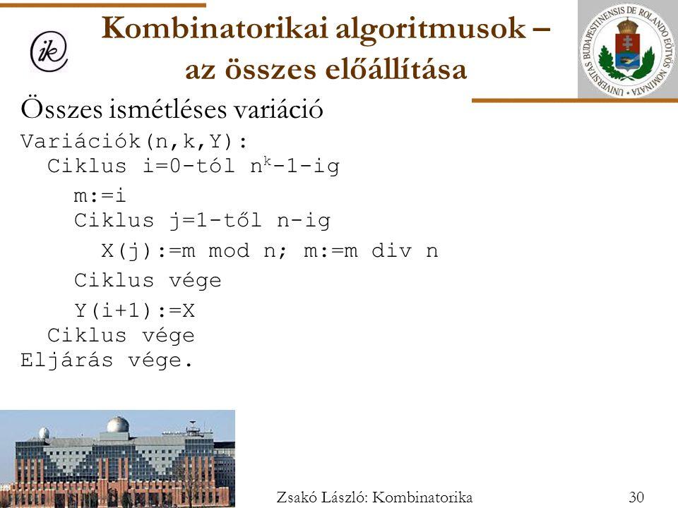 Összes ismétléses variáció Variációk(n,k,Y): Ciklus i=0-tól n k -1-ig m:=i Ciklus j=1-től n-ig X(j):=m mod n; m:=m div n Ciklus vége Y(i+1):=X Ciklus vége Eljárás vége.