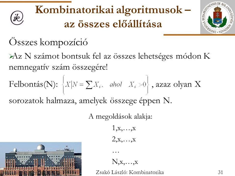 Összes kompozíció  Az N számot bontsuk fel az összes lehetséges módon K nemnegatív szám összegére.