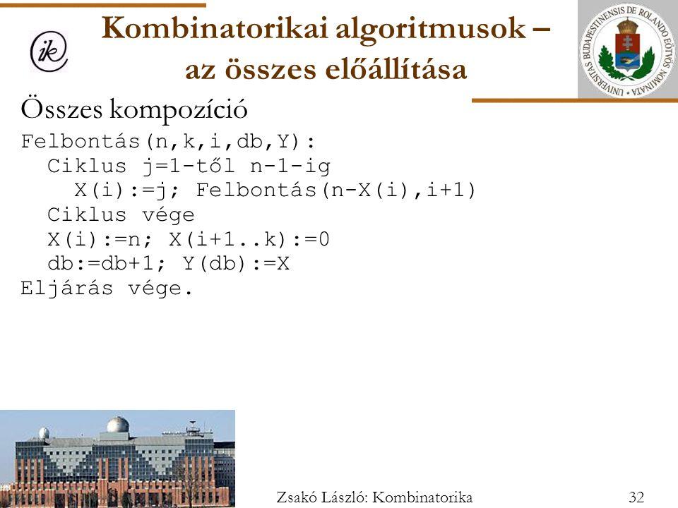 Összes kompozíció Felbontás(n,k,i,db,Y): Ciklus j=1-től n-1-ig X(i):=j; Felbontás(n-X(i),i+1) Ciklus vége X(i):=n; X(i+1..k):=0 db:=db+1; Y(db):=X Eljárás vége.