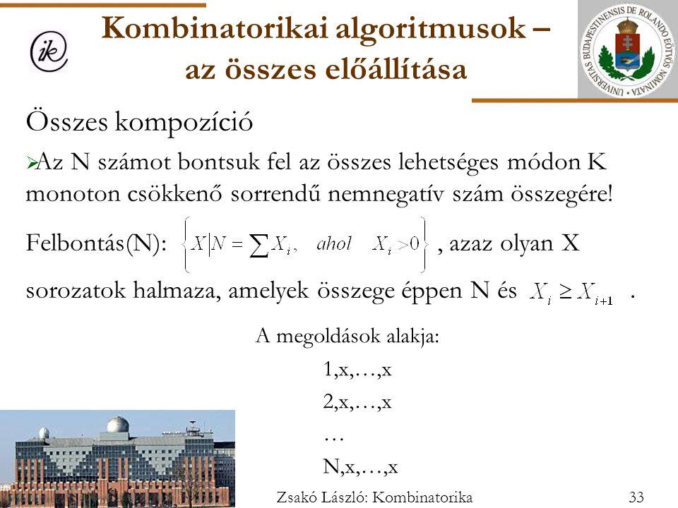 Összes kompozíció  Az N számot bontsuk fel az összes lehetséges módon K monoton csökkenő sorrendű nemnegatív szám összegére.