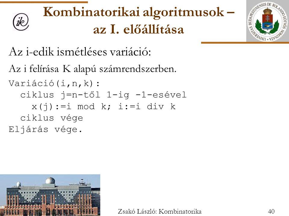 Az i-edik ismétléses variáció: Az i felírása K alapú számrendszerben.