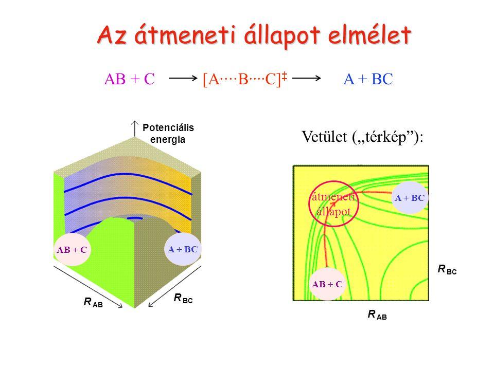 """Átmeneti állapot AB + CA + BC Potenciális energia R BC R AB R BC Vetület (""""térkép ): átmeneti állapot [A····B····C] ‡ AB + C A + BC Az átmeneti állapot elmélet"""