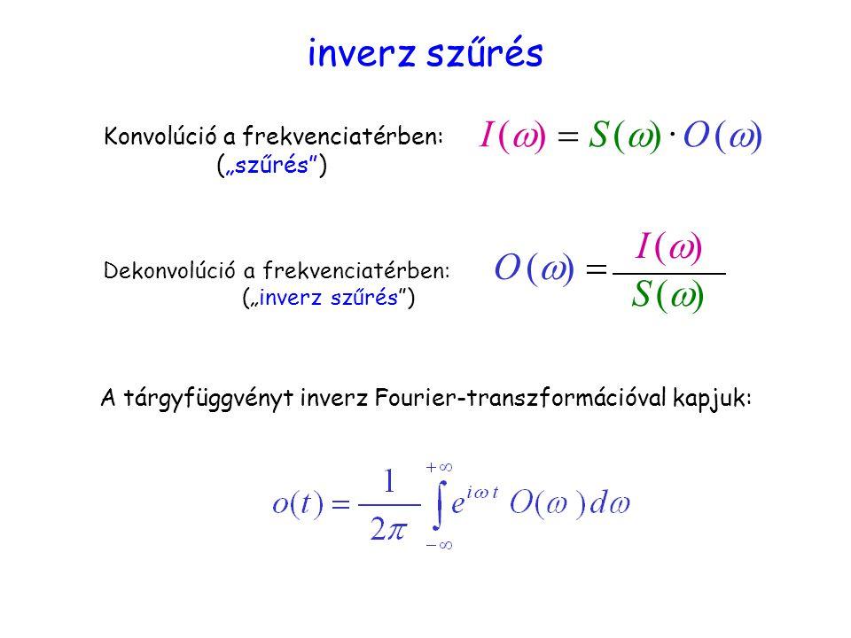 """A tárgyfüggvényt inverz Fourier-transzformációval kapjuk: Konvolúció a frekvenciatérben: (""""szűrés ) I (  S (   · O (  Dekonvolúció a frekvenciatérben: (""""inverz szűrés ) O (  S (S ( I (I ( inverz szűrés"""