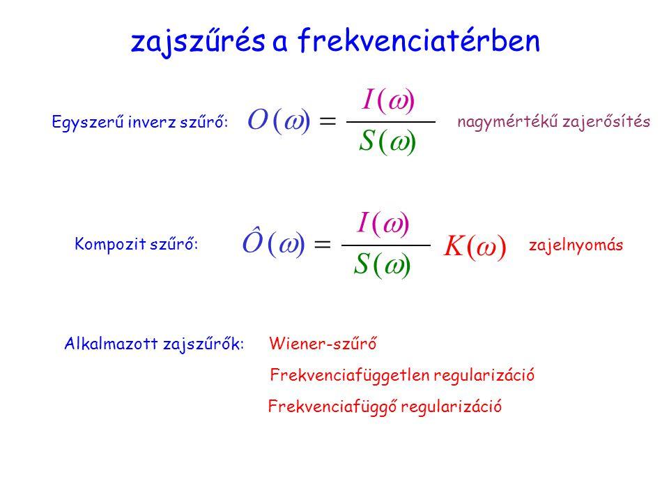 Zajszűrés a frekvenciatérben 1 zajszűrés a frekvenciatérben Egyszerű inverz szűrő: O (  S (S ( I (I ( Kompozit szűrő: nagymértékű zajerősítés Alkalmazott zajszűrők:Wiener-szűrő Frekvenciafüggetlen regularizáció Frekvenciafüggő regularizáció zajelnyomás Ô (  S (S ( I (I ( K (ω)K (ω)