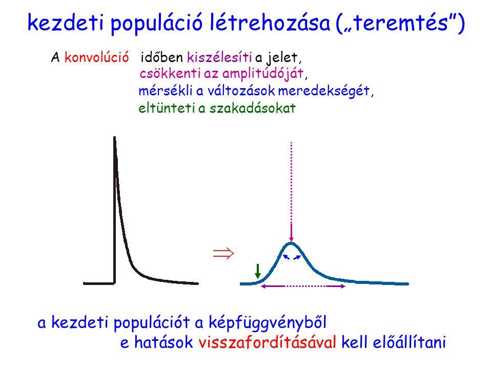 """kezdeti populáció létrehozása (""""teremtés ) a kezdeti populációt a képfüggvényből e hatások visszafordításával kell előállítani A konvolúcióidőben kiszélesíti a jelet, csökkenti az amplitúdóját, mérsékli a változások meredekségét, eltünteti a szakadásokat"""