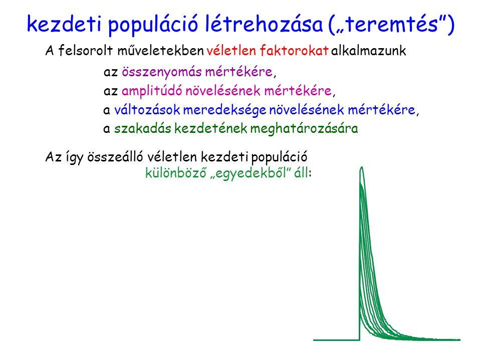"""kezdeti populáció létrehozása (""""teremtés ) A felsorolt műveletekben véletlen faktorokat alkalmazunk az összenyomás mértékére, az amplitúdó növelésének mértékére, a változások meredeksége növelésének mértékére, a szakadás kezdetének meghatározására Az így összeálló véletlen kezdeti populáció különböző """"egyedekből áll:"""