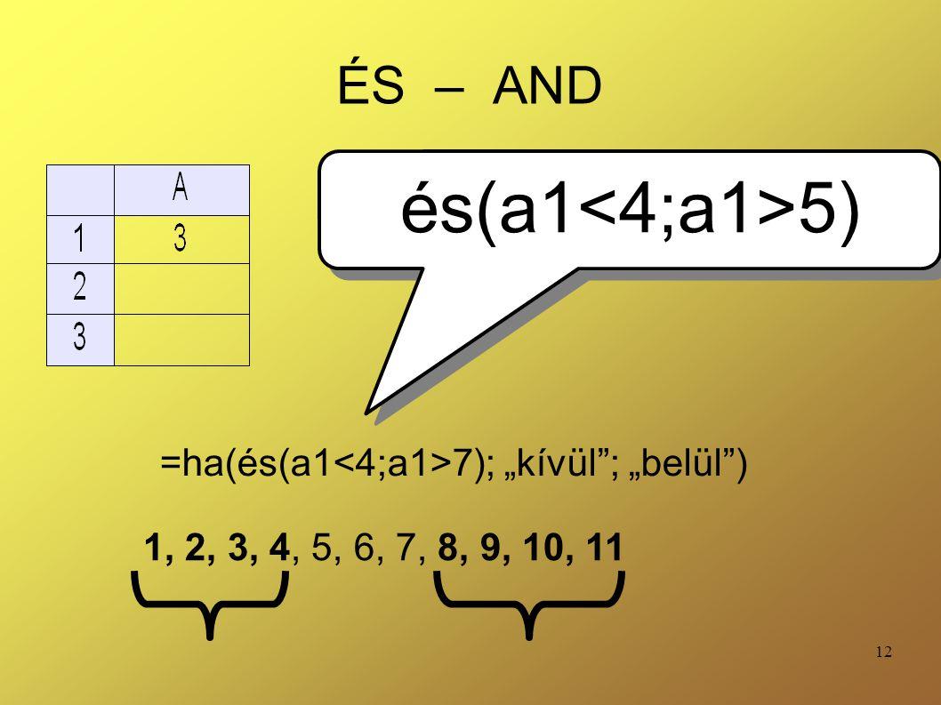 """12 ÉS – AND =ha(és(a1 7); """"kívül""""; """"belül"""") és(a1 5) 1, 2, 3, 4, 5, 6, 7, 8, 9, 10, 11"""