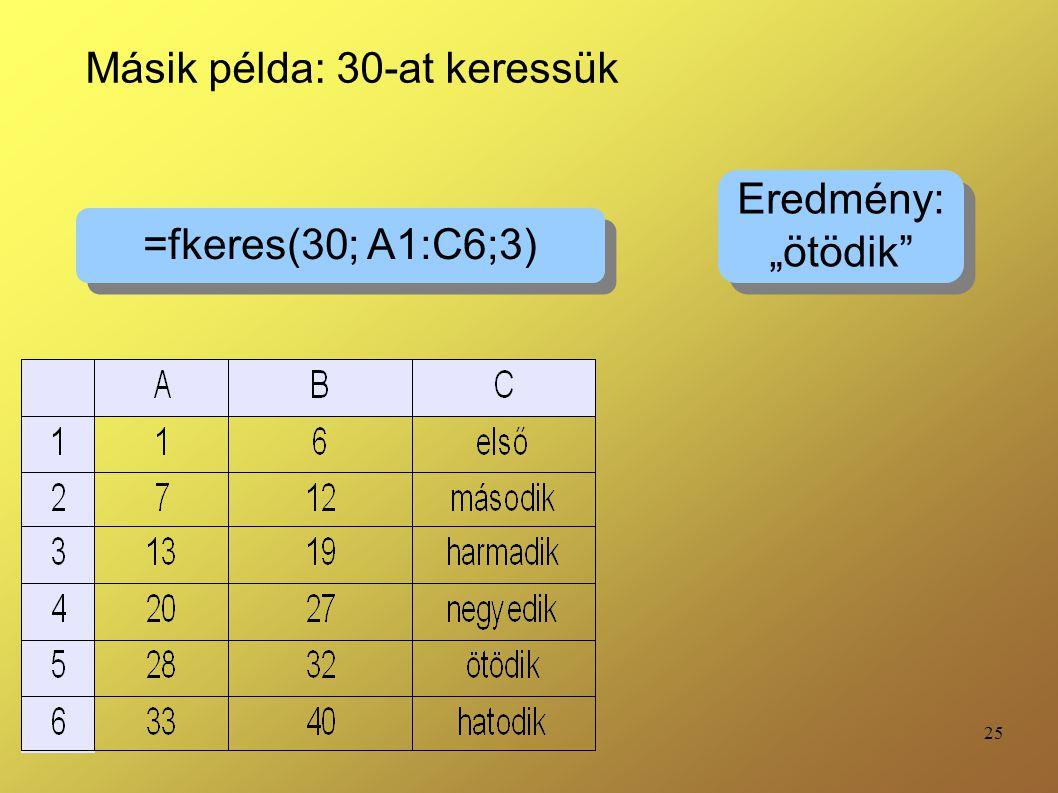 """25 =fkeres(30; A1:C6;3) Eredmény: """"ötödik"""" Eredmény: """"ötödik"""" Másik példa: 30-at keressük"""