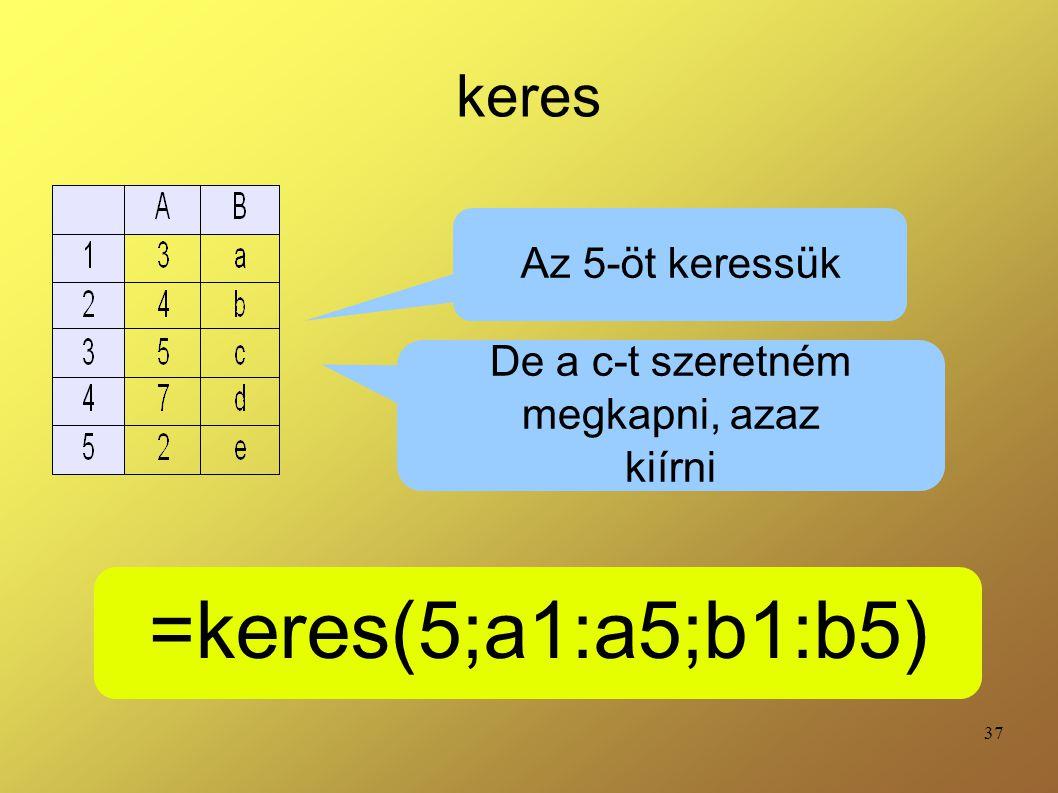 37 keres =keres(5;a1:a5;b1:b5) Az 5-öt keressük De a c-t szeretném megkapni, azaz kiírni