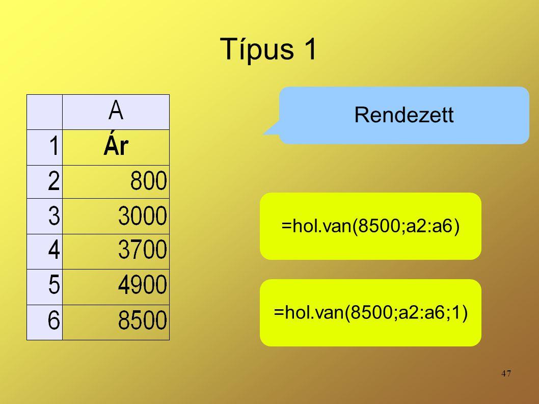 47 Típus 1 Rendezett =hol.van(8500;a2:a6) =hol.van(8500;a2:a6;1)