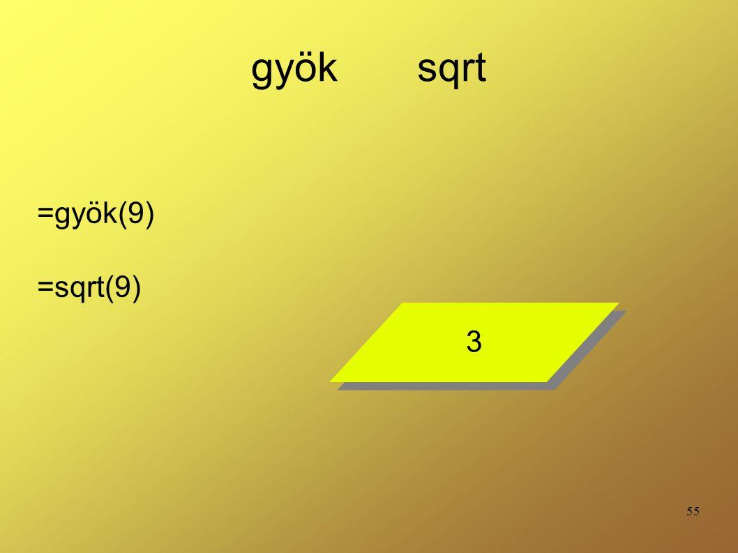 55 gyök sqrt =gyök(9) =sqrt(9) 3 3
