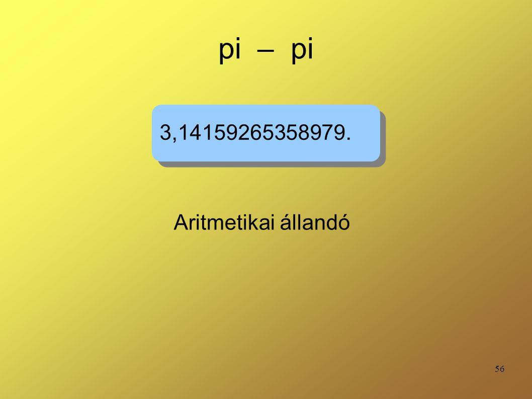 56 pi – pi Aritmetikai állandó 3,14159265358979.