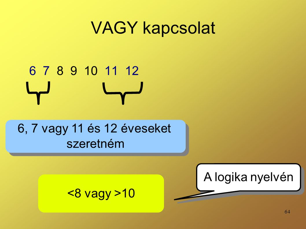 64 VAGY kapcsolat 6 7 8 9 10 11 12 6, 7 vagy 11 és 12 éveseket szeretném 6, 7 vagy 11 és 12 éveseket szeretném 10 A logika nyelvén
