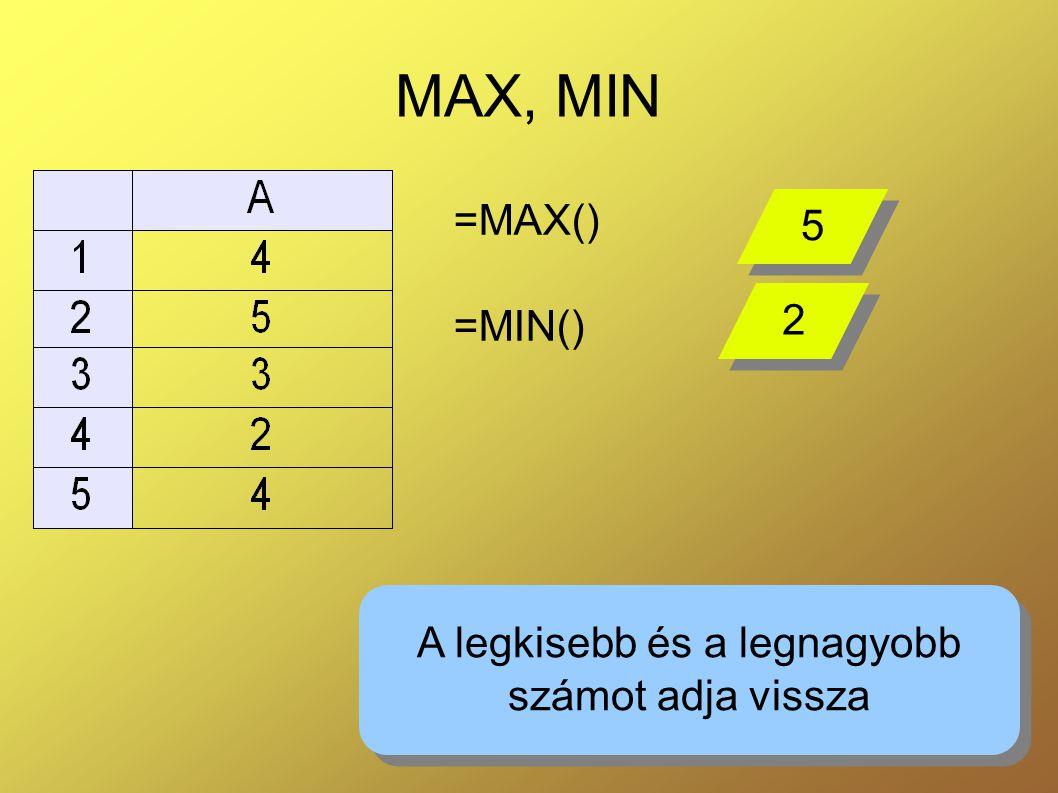 8 MAX, MIN =MAX() =MIN() A legkisebb és a legnagyobb számot adja vissza A legkisebb és a legnagyobb számot adja vissza 5 5 2 2