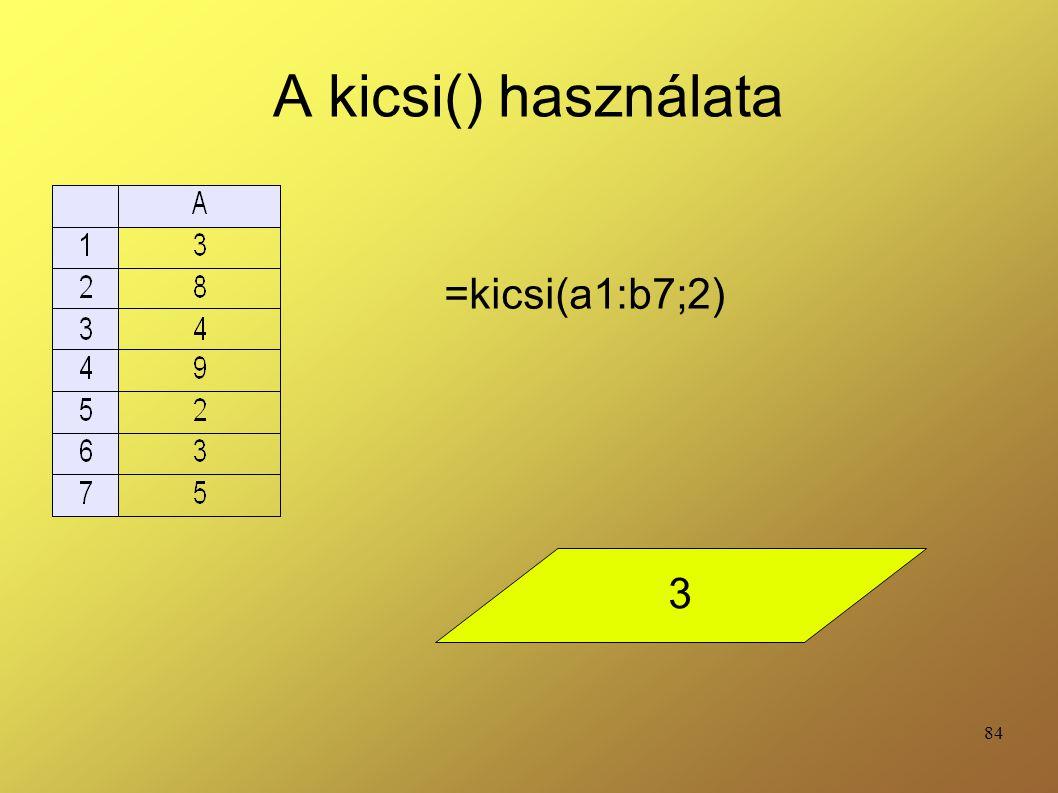 84 A kicsi() használata =kicsi(a1:b7;2) 3