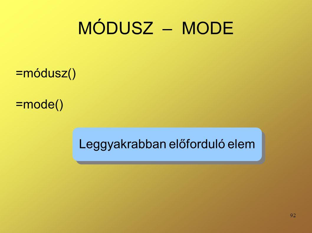 92 MÓDUSZ – MODE =módusz() =mode() Leggyakrabban előforduló elem