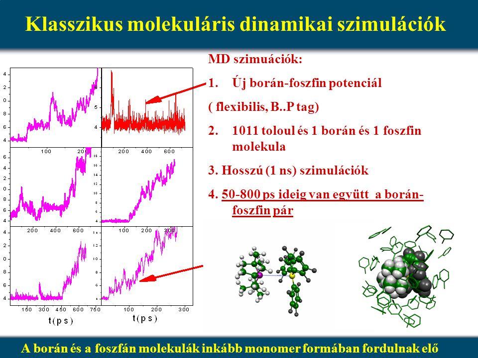 Klasszikus molekuláris dinamikai szimulációk MD szimuációk: 1. 1.Új borán-foszfin potenciál ( flexibilis, B..P tag) 2. 2.1011 toloul és 1 borán és 1 f