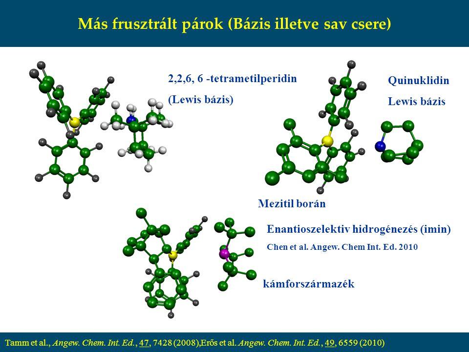Más frusztrált párok (Bázis illetve sav csere) Tamm et al., Angew. Chem. Int. Ed., 47, 7428 (2008),Erős et al. Angew. Chem. Int. Ed., 49, 6559 (2010)