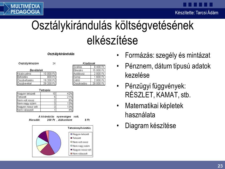 Készítette: Tarcsi Ádám 23 Osztálykirándulás költségvetésének elkészítése Formázás: szegély és mintázat Pénznem, dátum típusú adatok kezelése Pénzügyi