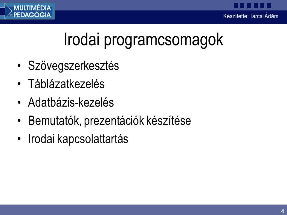 Készítette: Tarcsi Ádám 4 Irodai programcsomagok Szövegszerkesztés Táblázatkezelés Adatbázis-kezelés Bemutatók, prezentációk készítése Irodai kapcsola