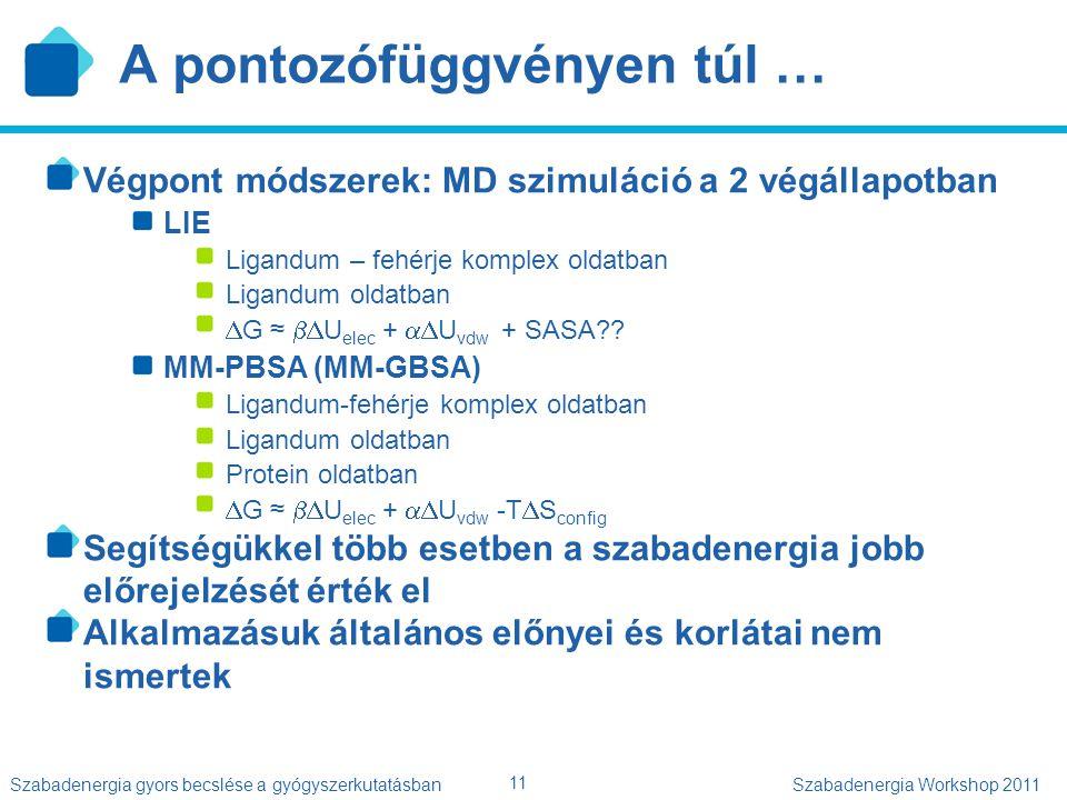 11 Szabadenergia gyors becslése a gyógyszerkutatásbanSzabadenergia Workshop 2011 A pontozófüggvényen túl … Végpont módszerek: MD szimuláció a 2 végáll