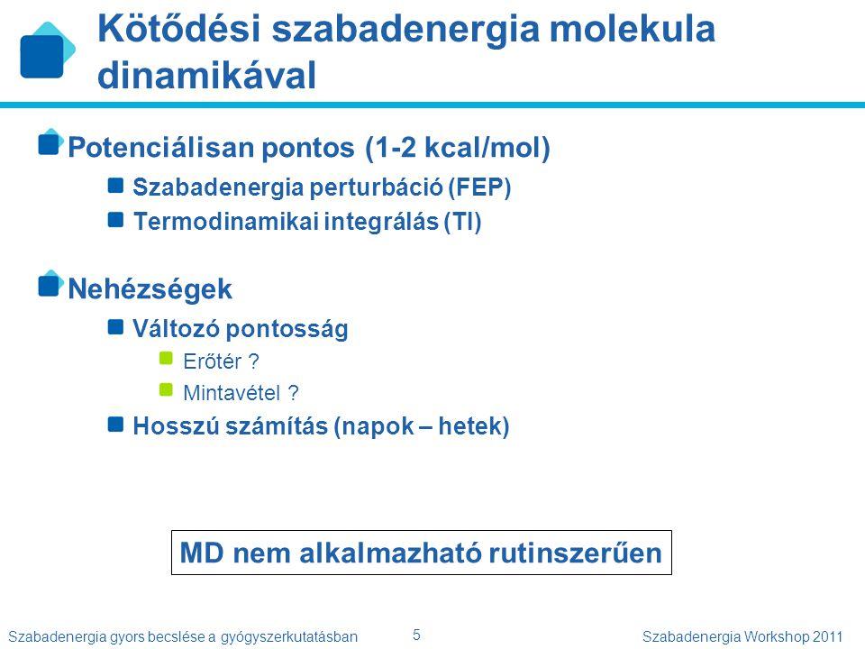 5 Szabadenergia gyors becslése a gyógyszerkutatásbanSzabadenergia Workshop 2011 Kötődési szabadenergia molekula dinamikával Potenciálisan pontos (1-2