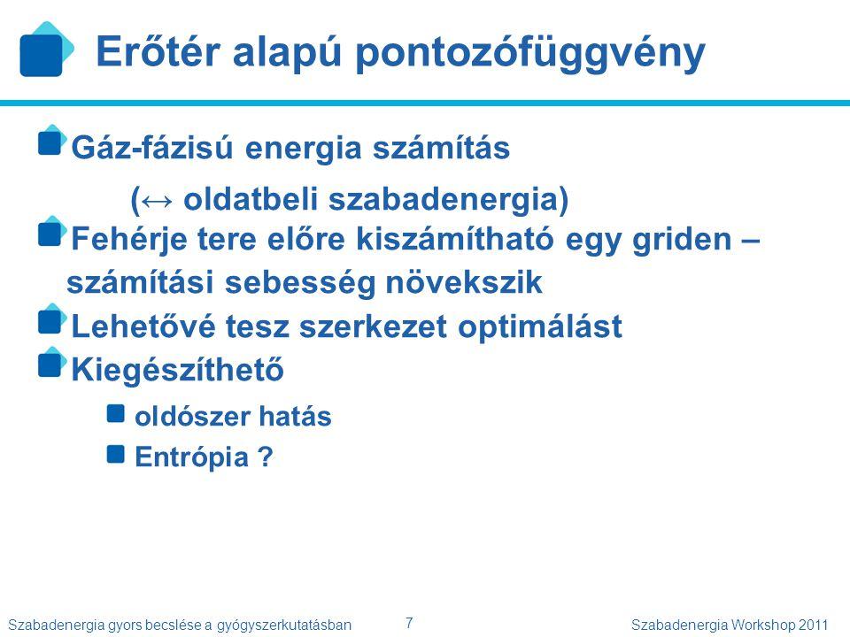 7 Szabadenergia gyors becslése a gyógyszerkutatásbanSzabadenergia Workshop 2011 Erőtér alapú pontozófüggvény Gáz-fázisú energia számítás (↔ oldatbeli
