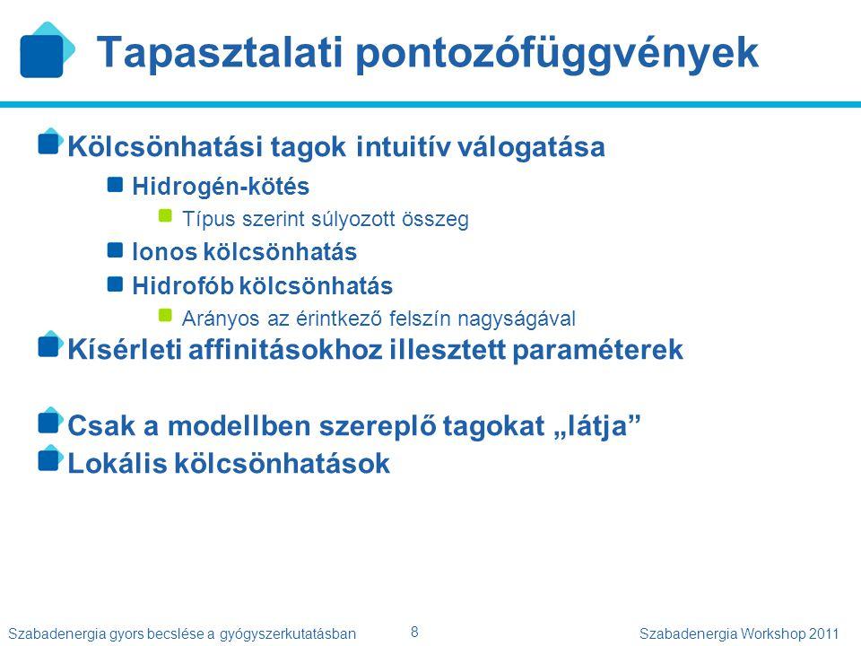 8 Szabadenergia gyors becslése a gyógyszerkutatásbanSzabadenergia Workshop 2011 Tapasztalati pontozófüggvények Kölcsönhatási tagok intuitív válogatása