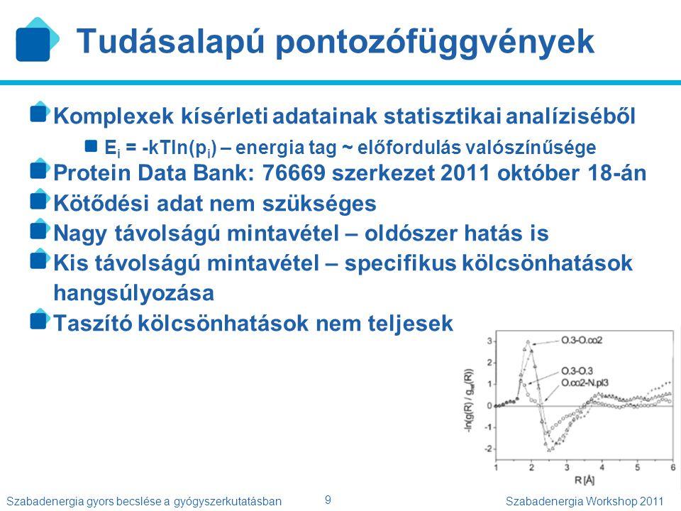 9 Szabadenergia gyors becslése a gyógyszerkutatásbanSzabadenergia Workshop 2011 Tudásalapú pontozófüggvények Komplexek kísérleti adatainak statisztika