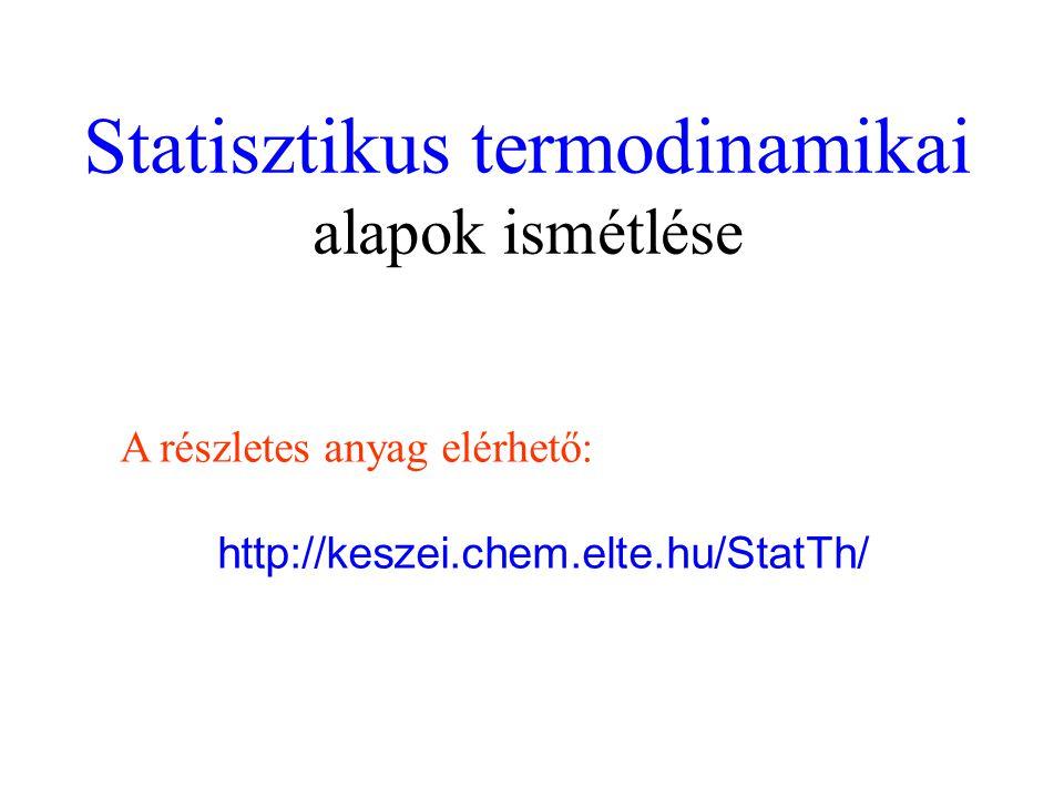 Statisztikus termodinamikai alapok ismétlése A részletes anyag elérhető: http://keszei.chem.elte.hu/StatTh/