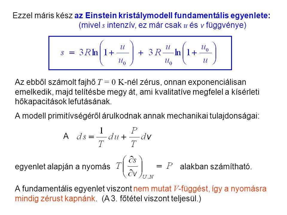Einstein kristálymodell 6 Ezzel máris kész az Einstein kristálymodell fundamentális egyenlete: (mivel s intenzív, ez már csak u és v függvénye) Az ebből számolt fajhő T = 0 K -nél zérus, onnan exponenciálisan emelkedik, majd telítésbe megy át, ami kvalitatíve megfelel a kísérleti hőkapacitások lefutásának.