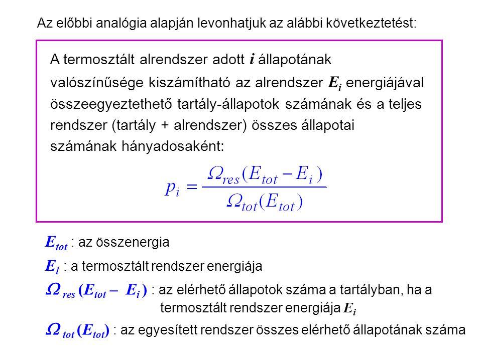Kanonikus sokaság 4 Az előbbi analógia alapján levonhatjuk az alábbi következtetést: A termosztált alrendszer adott i állapotának valószínűsége kiszámítható az alrendszer E i energiájával összeegyeztethető tartály-állapotok számának és a teljes rendszer (tartály + alrendszer) összes állapotai számának hányadosaként: E tot : az összenergia E i : a termosztált rendszer energiája  res (E tot – E i ) : az elérhető állapotok száma a tartályban, ha a termosztált rendszer energiája E i  tot (E tot ) : az egyesített rendszer összes elérhető állapotának száma