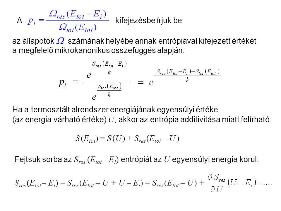 Fejtsük sorba az S res (E tot – E i ) entrópiát az U egyensúlyi energia körül: az állapotok  számának helyébe annak entrópiával kifejezett értékét a megfelelő mikrokanonikus összefüggés alapján: Kanonikus sokaság 5 Akifejezésbe írjuk be Ha a termosztált alrendszer energiájának egyensúlyi értéke (az energia várható értéke) U, akkor az entrópia additivitása miatt felírható: S res (E tot – E i ) = S res (E tot – U + U – E i ) = S res (E tot – U ) + S (E tot ) = S (U ) + S res (E tot – U )