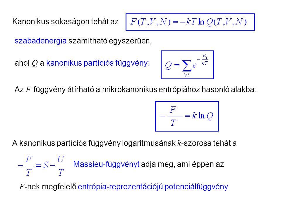 Kanonikus sokaság 9 A kanonikus partíciós függvény logaritmusának k -szorosa tehát a Massieu-függvényt adja meg, ami éppen az ahol Q a kanonikus partíciós függvény: Kanonikus sokaságon tehát az számítható egyszerűen, Az F függvény átírható a mikrokanonikus entrópiához hasonló alakba: szabadenergia F -nek megfelelő entrópia-reprezentációjú potenciálfüggvény.