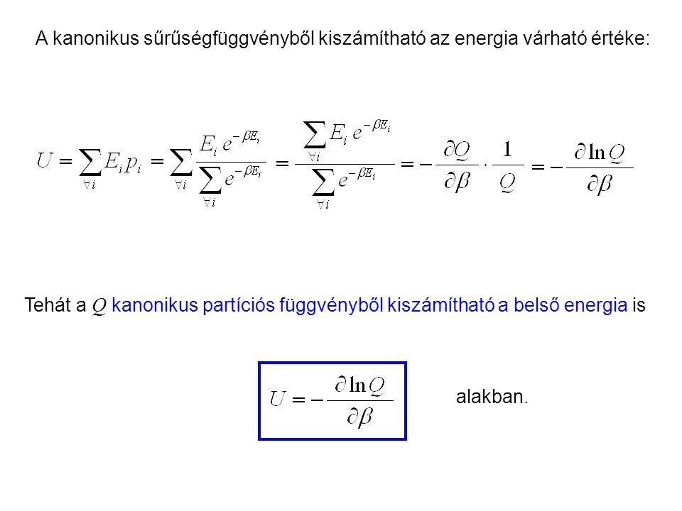 Kanonikus energia A kanonikus sűrűségfüggvényből kiszámítható az energia várható értéke: Tehát a Q kanonikus partíciós függvényből kiszámítható a belső energia is alakban.