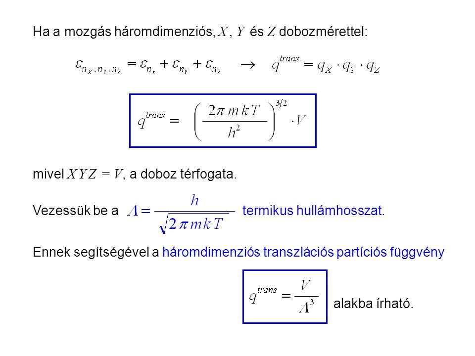 Ideális gázok 5 Ha a mozgás háromdimenziós, X, Y és Z dobozmérettel: mivel X Y Z = V, a doboz térfogata.