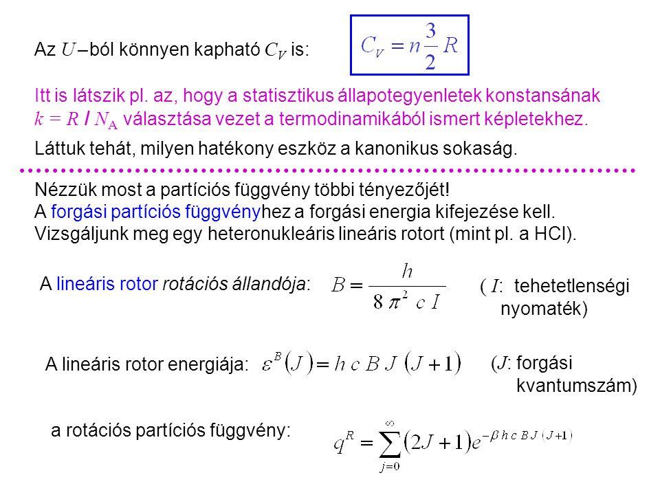 Rotációs partíciós függvény Az U – ból könnyen kapható C V is: Láttuk tehát, milyen hatékony eszköz a kanonikus sokaság.