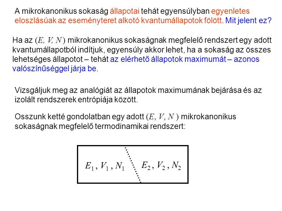 Egyenletes eloszlás A mikrokanonikus sokaság állapotai tehát egyensúlyban egyenletes eloszlásúak az eseményteret alkotó kvantumállapotok fölött.