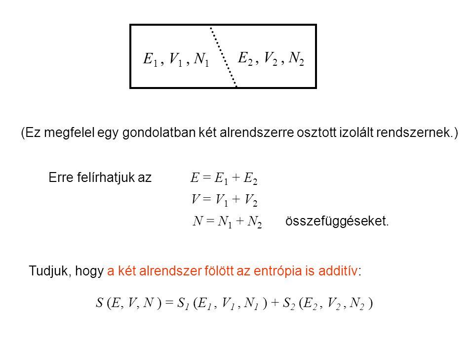 (Ez megfelel egy gondolatban két alrendszerre osztott izolált rendszernek.) Erre felírhatjuk az E = E 1 + E 2 V = V 1 + V 2 N = N 1 + N 2 összefüggéseket.